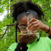 Student looks at water sample to test turbidity